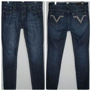 Vigoss Slim Straight Embellished Pockets Jeans